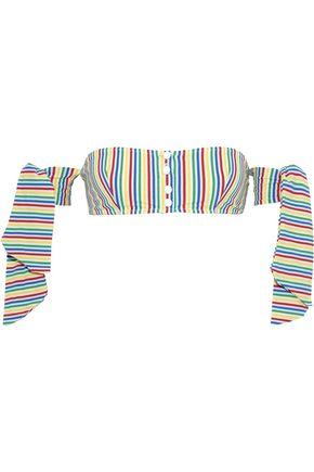 SOLID & STRIPED The Mackenzie off-the-shoulder striped seersucker bandeau bikini top