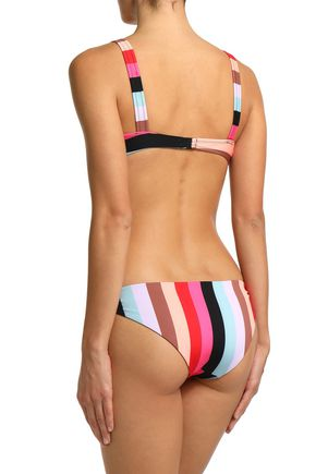 SOLID & STRIPED Striped low-rise bikini briefs