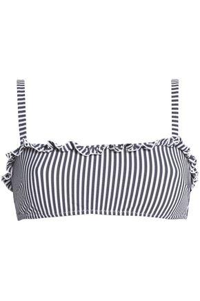 SOLID & STRIPED The Leslie ruffle-trimmed striped seersucker bikini top