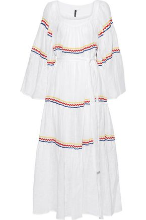 LISA MARIE FERNANDEZ Belted rick rack-trimmed linen maxi dress
