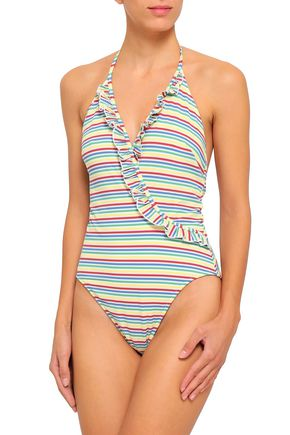 SOLID & STRIPED The Nadine ruffle-trimmed striped seersucker halterneck swimsuit