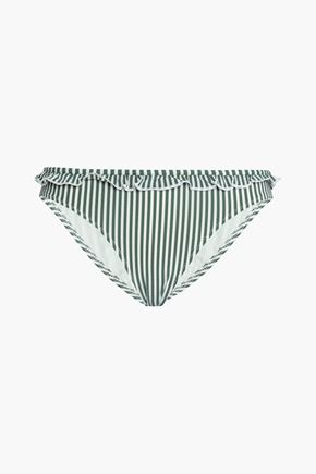 SOLID & STRIPED Ruffle-trimmed striped seersucker low-rise bikini briefs