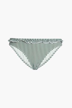 SOLID & STRIPED Ruffle-trimmed striped seersucker low-rise bikini briefs