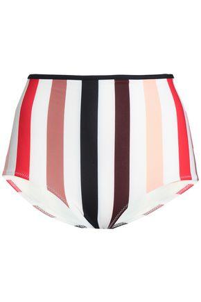 SOLID & STRIPED Striped high-rise bikini briefs