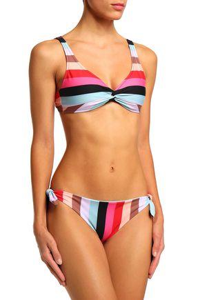 SOLID & STRIPED Twist-front striped bikini top