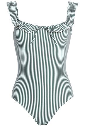 SOLID & STRIPED The Amelia ruffle-trimmed striped seersucker swimsuit