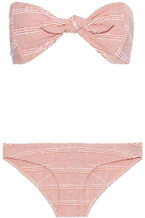 LISA MARIE FERNANDEZ Poppy knotted striped seersucker bandeau bikini