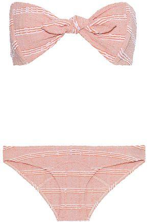 LISA MARIE FERNANDEZ Poppy knotted striped seersucker bandeau bikini