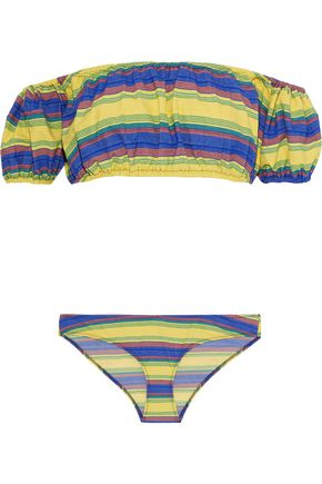LISA MARIE FERNANDEZ Leandra off-the-shoulder striped stretch-cotton bikini