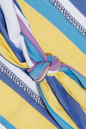 LISA MARIE FERNANDEZ Triple Poppy knotted striped stretch-cotton swimsuit