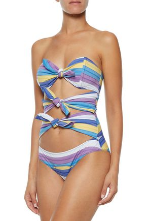 LISA MARIE FERNANDEZ Triple Poppy knotted striped stretch-cotton swimsuit