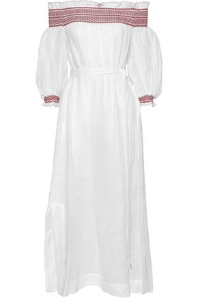 LISA MARIE FERNANDEZ Off-the-shoulder smocked linen-gauze midi dress