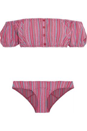 LISA MARIE FERNANDEZ Leandra off-the-shoulder striped seersucker bandeau bikini