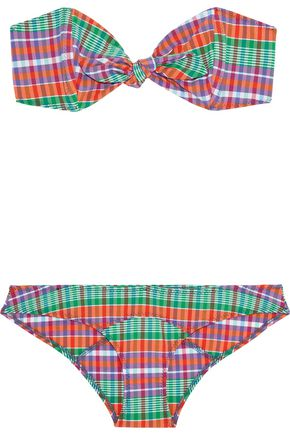 LISA MARIE FERNANDEZ Poppy knotted checked stretch-cotton bandeau bikini