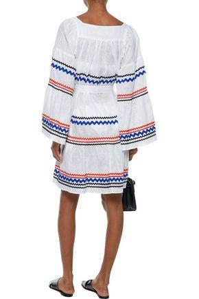 LISA MARIE FERNANDEZ Belted rick rack-trimmed linen dress