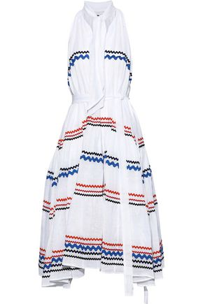 LISA MARIE FERNANDEZ Tie-front rick rack-trimmed linen-gauze midi dress