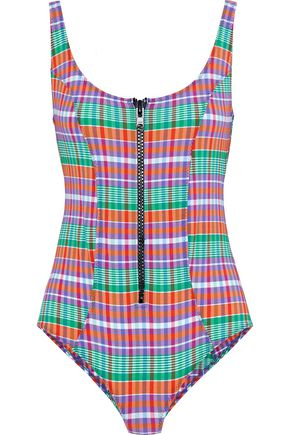 LISA MARIE FERNANDEZ Jasmine zip-detailed checked cotton-blend swimsuit
