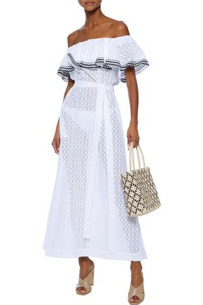 LISA MARIE FERNANDEZ Off-the-shoulder broderie anglaise cotton maxi dress