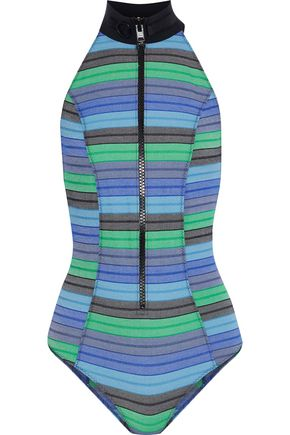 LISA MARIE FERNANDEZ Striped stretch-cotton halterneck swimsuit