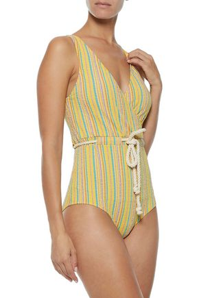 LISA MARIE FERNANDEZ Yasmin tie-front striped seersucker swimsuit