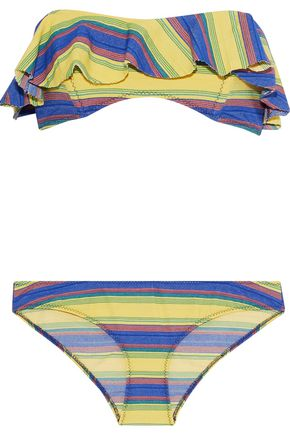 LISA MARIE FERNANDEZ Natalie ruffled striped stretch-cotton bandeau bikini