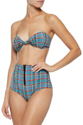 LISA MARIE FERNANDEZ Poppy knotted checked seersucker bandeau bikini
