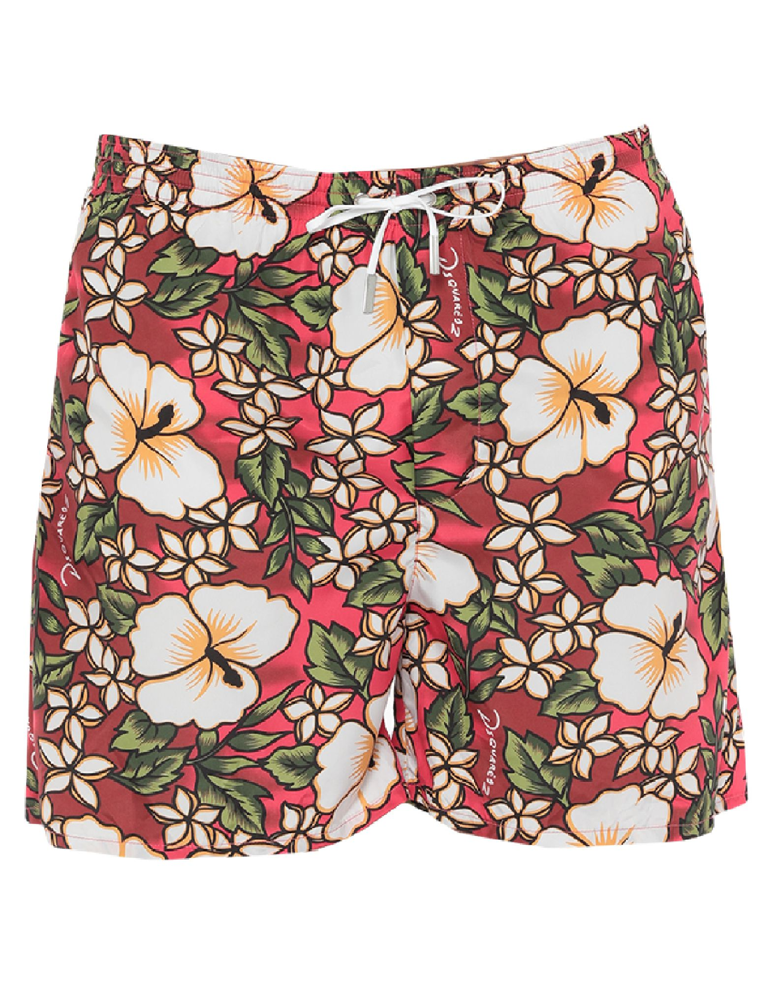 DSQUARED2 Beach shorts and pants. techno fabric, logo, floral design, drawstring closure, multipockets, internal slip. 100% Polyester