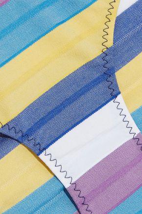 LISA MARIE FERNANDEZ Leandra off-the-shoulder striped stretch-cotton bandeau bikini