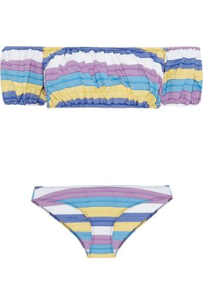 LISA MARIE FERNANDEZ Leandra off-the-shoulder striped stretch-cotton bandeau bikini