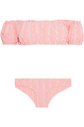 LISA MARIE FERNANDEZ Leandra off-the-shoulder striped seersucker bikini