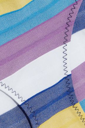 LISA MARIE FERNANDEZ Jasmine zip-detailed striped stretch-cotton swimsuit