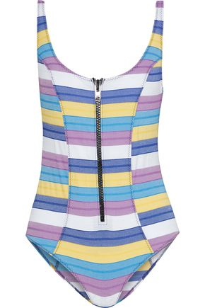 LISA MARIE FERNANDEZ Jasmine zip-detailed striped stretch-cotton swimsuit