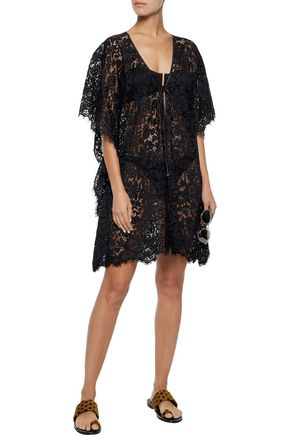 DOLCE & GABBANA Bow-detailed corded lace coverup
