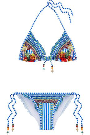 CAMILLA Book A Shade ruffle-trimmed embellished printed triangle bikini