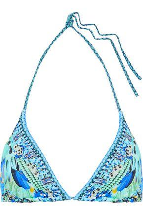 CAMILLA Leave Me Wild crystal-embellished printed triangle bikini top