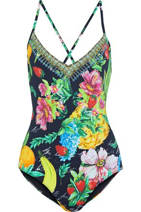 CAMILLA One Flew Over crystal-embellished printed swimsuit