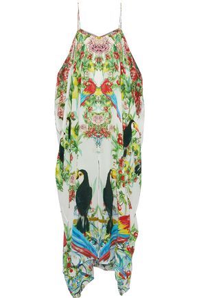 CAMILLA One Flew Over cold-shoulder printed silk kaftan