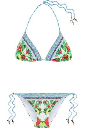 CAMILLA One Flew Over embellished printed triangle bikini