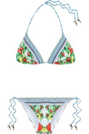 CAMILLA One Flew Over embellished printed triangle bikini