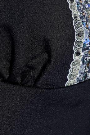 CAMILLA Embellished printed halterneck tankini top