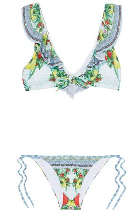 CAMILLA One Flew Over embellished ruffled printed bikini