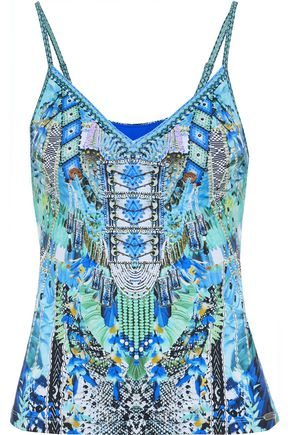 CAMILLA Leave Me Wild crystal-embellished printed tankini top