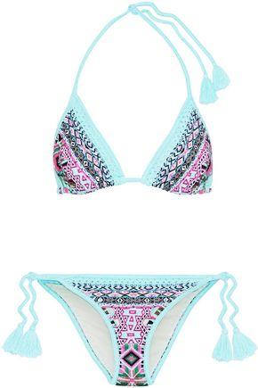 CAMILLA Mochilla Chiller crystal-embellished printed triangle bikini