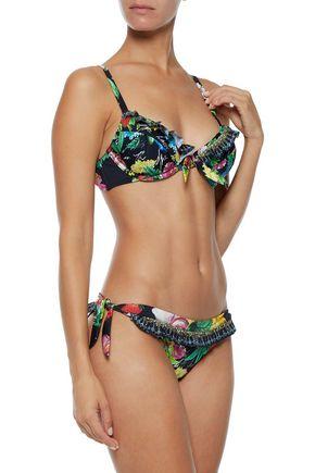CAMILLA Call Me Carmen embellished ruffled printed bikini