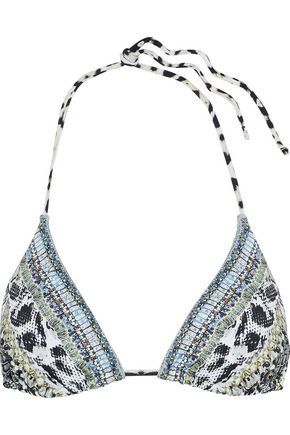 CAMILLA Leave Me Wild crystal-embellished printed triangle bikini top