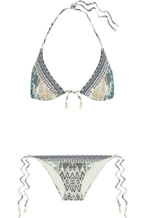 CAMILLA Weave On embellished printed triangle bikini