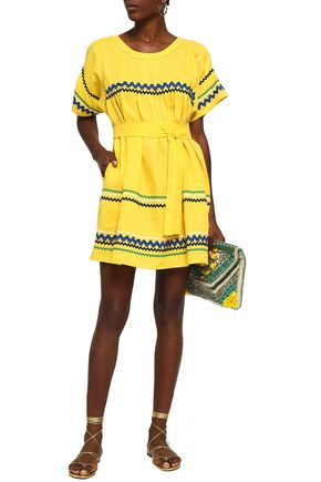 LISA MARIE FERNANDEZ Rickrack-trimmed linen mini dress