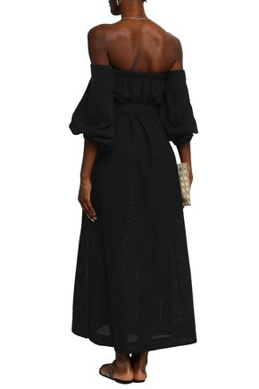 LISA MARIE FERNANDEZ Off-the-shoulder cotton-broderie anglaise maxi dress