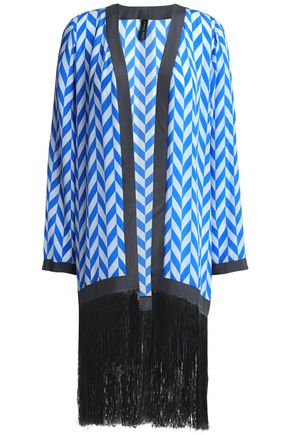 EMMA PAKE Fringed printed silk crepe de chine coverup