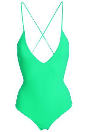 EMMA PAKE Lace-up halterneck swimsuit
